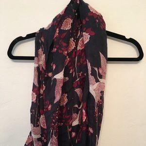 Floral bird print infinity scarf